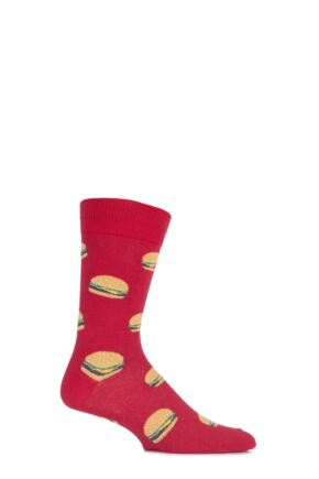 Mens 1 Pair SockShop Dare to Wear Burger Socks Red 6-11