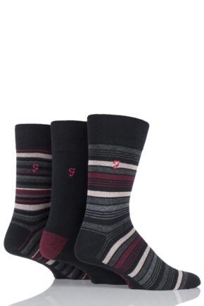 Mens 3 Pair Farah Classic Luxury Stripe Cotton Socks In 4 Colours