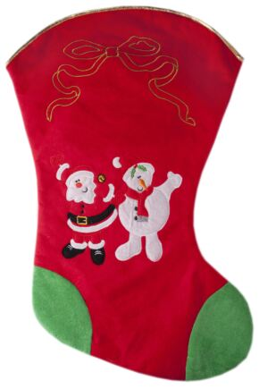 SockShop Large 75cm Christmas Stocking With Santa and Snowman Print Red