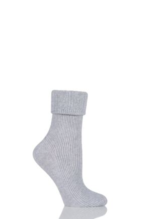 Ladies 1 Pair Oroblu Hilda Fine Cashmere Blend Ribbed Socks Grey Melange 39-42