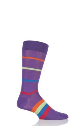 Mens 1 Pair HJ Hall Elkins Striped Egyptian Cotton Socks 25% OFF Crocus 7-10 Mens
