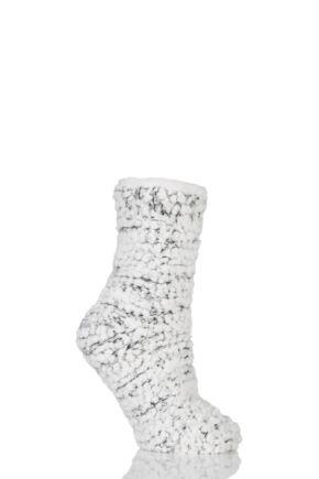 Ladies 1 Pair Totes Super Soft Sequin Fluffy Bed Socks Grey 4-7 Ladies