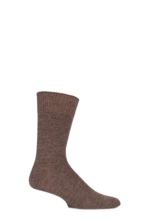 Mens and Ladies 1 Pair SOCKSHOP of London Plain Alpaca Socks Natural Brown 8-10