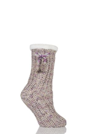 Ladies 1 Pair Totes Fleece Lined Ribbed Lurex Shine Slipper Socks with Pom Pom Lilac 4-7 Ladies