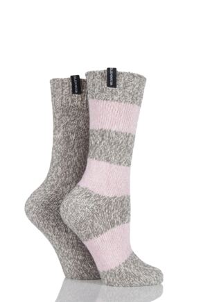 Ladies 2 Pair Glenmuir Stripe and Plain Marl Cotton Boot Socks 25% OFF Grey 4-8 Ladies