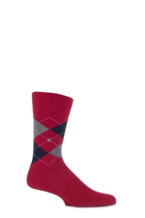 Mens 1 Pair Burlington Norfolk Cotton Mix Argyle Socks Red 40-46