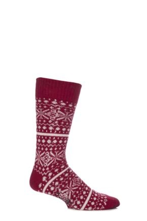 Mens 1 Pair Corgi Lambswool and Angora Fair Isle Socks Red M