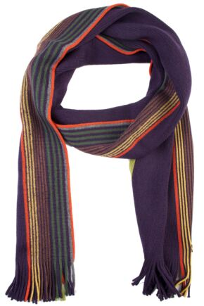 Mens Fraas 100% Wool Stripe and Plain Scarf 75% OFF Purple