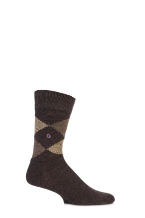 Mens 1 Pair Burlington Preston Extra Soft Feeling Argyle Socks Dark Brown Mix 40-46