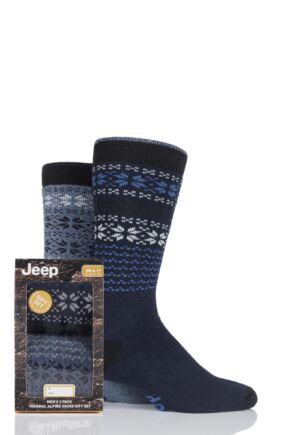 Mens 2 Pair Jeep Wool Blend Fair Isle Socks Gift Box