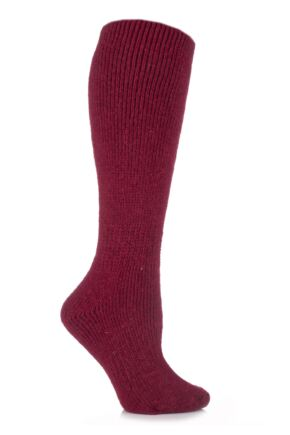 Ladies 1 Pair SockShop Heat Holders Wool Rich Long Thermal Socks Red