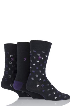 Mens 3 Pair Farah Classic Luxury Square Cotton Socks
