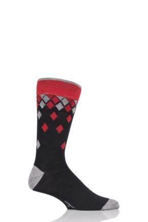 Mens 1 Pair Viyella Falling Diamonds Wool Blend Socks