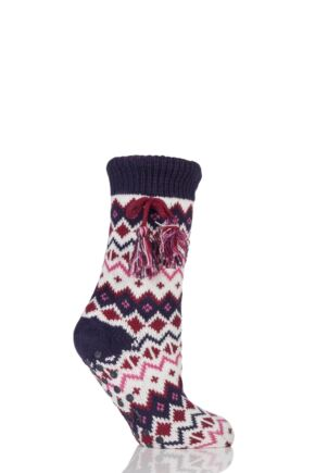 Ladies 1 Pair Totes Shirpa Lined Fairisle Slipper Socks with Pom Pom Berry 4-7 Ladies