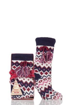 Ladies 1 Pair Totes Shirpa Lined Fairisle Slipper Socks with Pom Pom Berry 4-7 Ladies