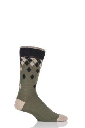 Mens 1 Pair Viyella Falling Diamonds Wool Blend Socks 25% OFF Lovat 6-11 Mens