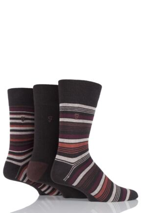 Mens 3 Pair Farah Classic Luxury Stripe Cotton Socks Brown Stripe 6-11 Mens