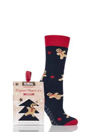 Ladies 1 Pair Totes Original Christmas Novelty Gingerbread Man Slipper Socks with Grip