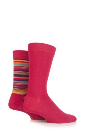 Mens 2 Pair SockShop Striped and Plain Bamboo Socks Crimson