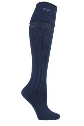 Ladies 1 Pair Elle Wool Ribbed Knee High Socks with Cuff