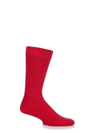 Mens 1 Pair SockShop Colours Single Cotton Rich Socks 6-11 Mens - Pillar Box Red