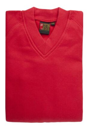 Kids-Cottonridge-V-Neck-School-Pullover-Jumper-Red-Grey-Blue-All-Ages-Sizes