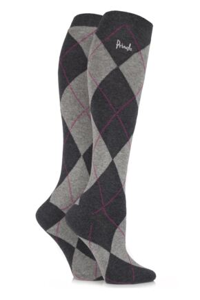 Ladies 2 Pair Pringle New Katrina Argyle Knee High Socks Grey