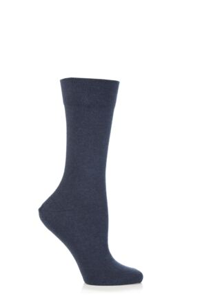Ladies 1 Pair Falke Sensitive London Left And Right Comfort Cuff Cotton Socks