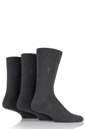 Mens 3 Pair Farah Plain Comfort Cuff Socks Charcoal 6-11 Mens