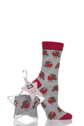 Ladies 1 Pair Totes Christmas Bauble Socks Robin 4-7 Ladies