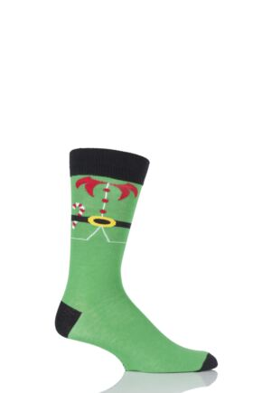 Mens 1 Pair SockShop Festive Feet Elf Christmas Novelty Socks Green 6-11
