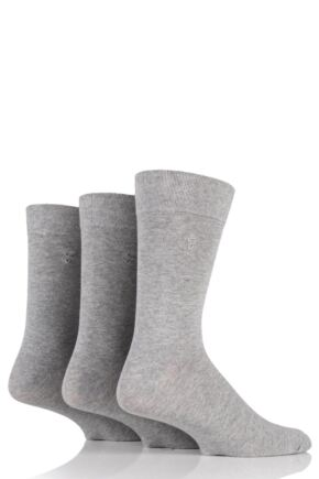 Mens 3 Pair Farah Plain Comfort Cuff Socks Grey 6-11 Mens