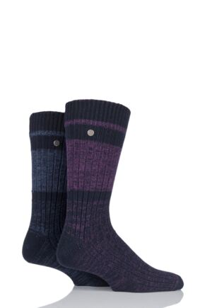 Mens 2 Pair Jeep Spirit Twist Knit Cotton Rich Socks