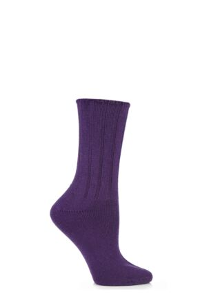 Ladies 1 Pair Elle Wool and Viscose Ribbed Bed Socks Winter Purple
