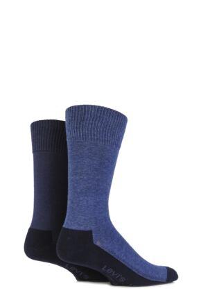 Mens 2 Pair Levis 168LS Plain Cushioned Crew Socks Mid Denim 6-8