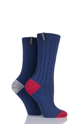Ladies 2 Pair Glenmuir Ribbed Contrast Heel and Toe Cotton Leisure Socks
