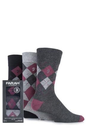 Mens 3 Pair Farah Gift Boxed Gentle Grip Argyle Cotton Socks