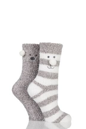 Ladies 2 Pair Totes Super Soft Twin Bear Face Bed Socks with Grip Grey 4-7 Ladies