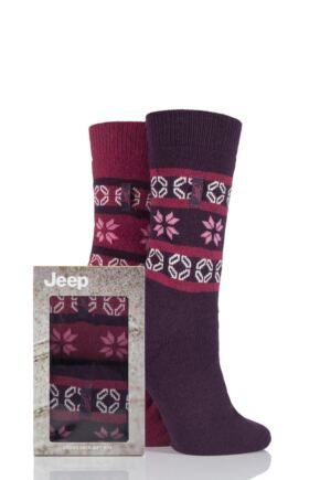 Ladies 2 Pair Jeep Wool Blend Fair Isle Socks Gift Box Plum 4-7 Ladies