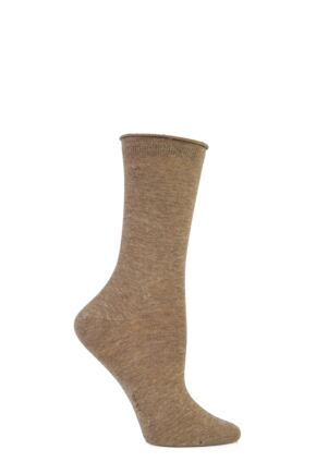 Ladies 1 Pair Burlington Ladywell Cotton Lurex Roll Top Socks