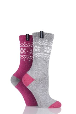 Ladies 2 Pair Glenmuir Fairisle Contrast Heel and Toe Wool Blend Boot Socks Light Grey 4-8 Ladies