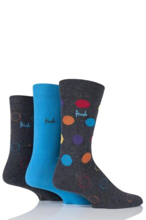 Mens 3 Pair Pringle Clarkston Plain, Circles and Spotty Cotton Socks