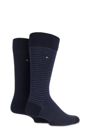 Mens 2 Pair Tommy Hilfiger Small Stripe Cotton Socks Dark Navy 9-11