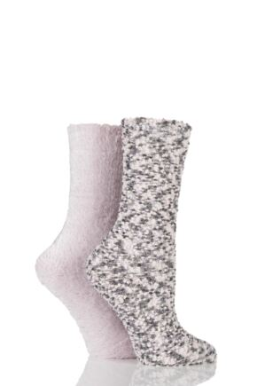 Ladies 2 Pair Totes Popcorn and Eyelash Super Soft Bed Socks Pink 4-7 Ladies
