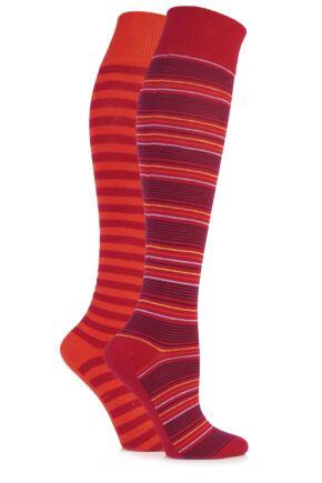 Ladies 2 Pair Elle Multi Striped Cotton Knee High Socks Red Plum