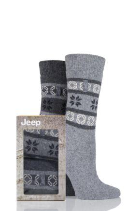 Ladies 2 Pair Jeep Wool Blend Fair Isle Socks Gift Box Charcoal 4-7 Ladies