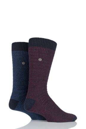 Mens 2 Pair Jeep Spirit Wool Mix Block Knit Socks