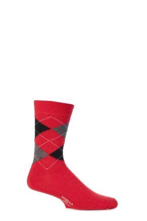 Mens 1 Pair Viyella Short Wool Argyle Socks Made In England