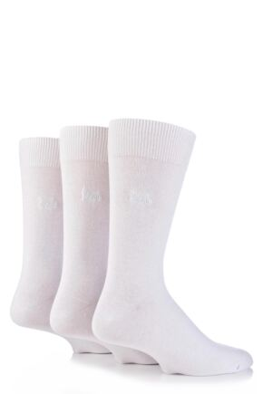 Mens 3 Pair Pringle Endrick Plain Trouser Socks White