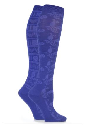 Ladies 2 Pair Elle Floral and Fair Isle Patterned Knee High Socks Lavender Field